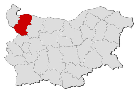 Map of Bulgaria with the provinces, Montana is highlighted. Illustration