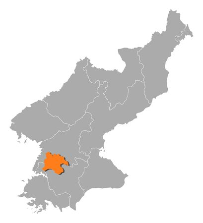 pyongyang: Map of North Korea with the provinces, Pyongyang is highlighted by orange.