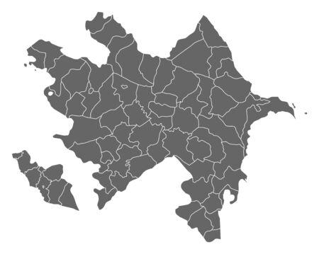 southwest asia: Map of Azerbaijan as a dark area. Illustration