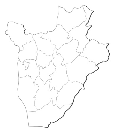 republique: Map of Burundi, contous as a black line. Illustration