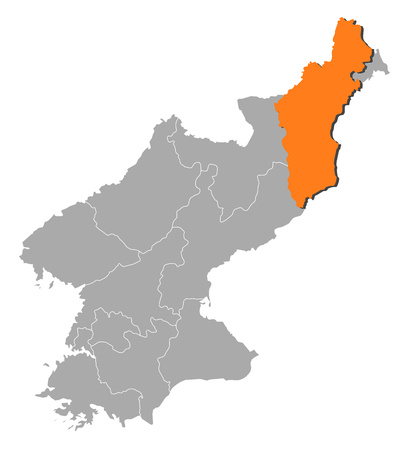 province: Map of North Korea with the provinces, North Hamgyong is highlighted by orange.