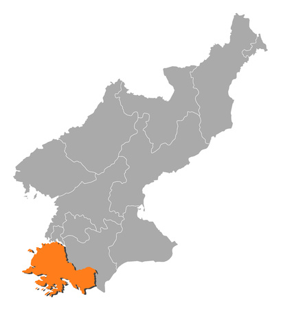 Map of North Korea with the provinces, South Hwanghae is highlighted by orange.