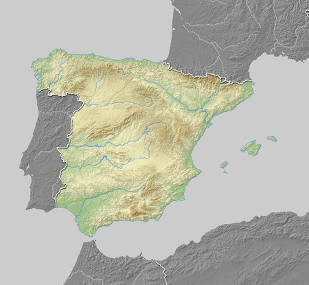 shaded: Map of Spain with shaded relief, the nearby countries are in black and white.