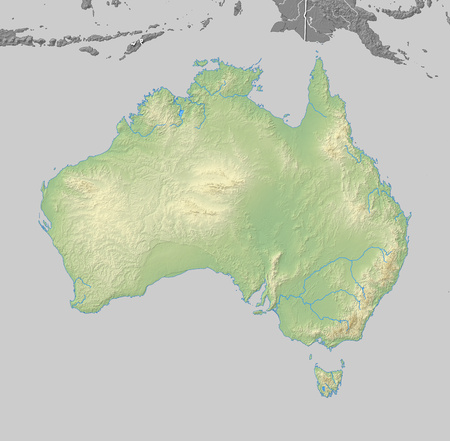 australie: Map of Australia with shaded relief, the nearby countries are in black and white.