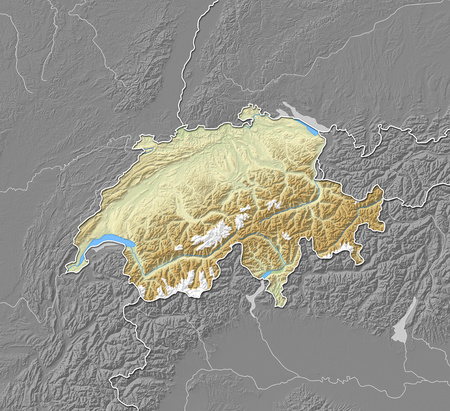 Map of Swizerland with shaded relief, the nearby countries are in black and white.