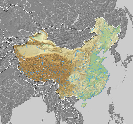 prc: Map of China with shaded relief, the nearby countries are in black and white.