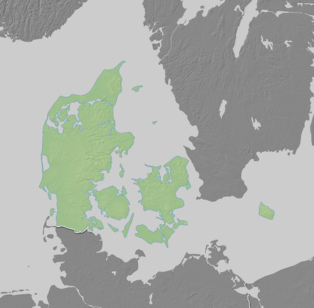 danmark: Map of Danmark with shaded relief, the nearby countries are in black and white. Stock Photo