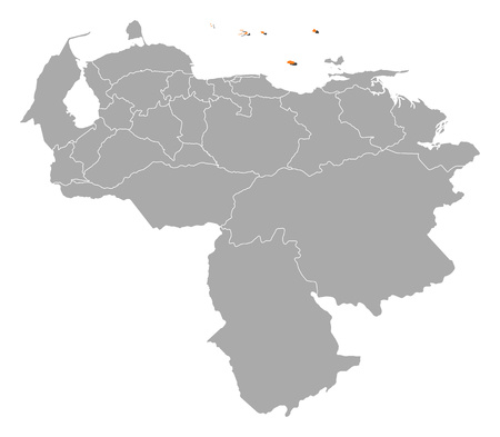 dependencies: Map of Venezuela with the provinces, Federal Dependencies is highlighted by orange. Illustration