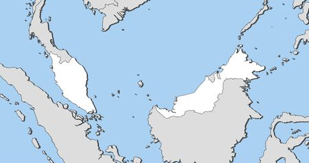 southeastern asia: Map of Malaysia and nearby countries, Malaysia is highlighted in white. Illustration