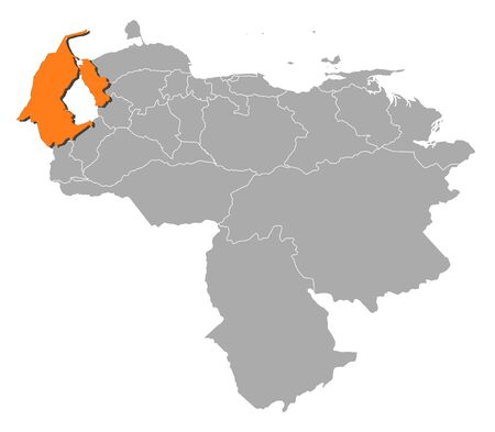 Map of Venezuela with the provinces, Zulia is highlighted by orange. Illustration