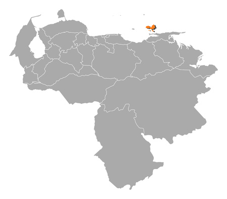 Map of Venezuela with the provinces, Nueva Esparta is highlighted by orange.