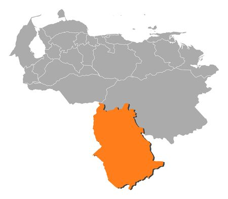 amazonas: Map of Venezuela with the provinces, Amazonas is highlighted by orange.