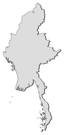 southeastern asia: Map of Myanmar, filled in gray.
