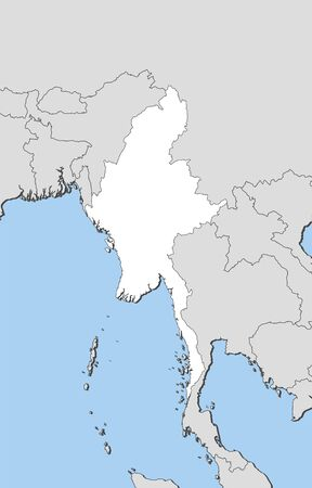 southeastern asia: Map of Myanmar and nearby countries, Myanmar is highlighted in white.