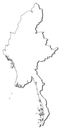 southeastern asia: Map of Myanmar, contous as a black line. Illustration