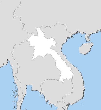 southeastern asia: Map of Laos and nearby countries, Laos is highlighted in white.