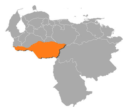 Map of Venezuela with the provinces, Apure is highlighted by orange.