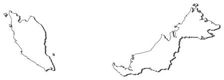Map of Malaysia, contous as a black line. Illustration