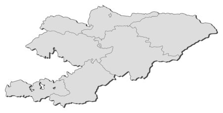 frontiers: Map of Kyrgyzstan with the provinces. Illustration