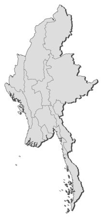 southeastern asia: Map of Myanmar with the provinces.