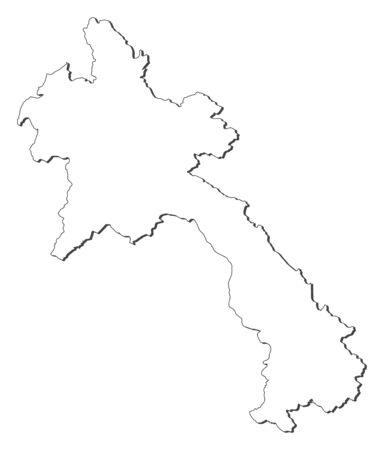 southeastern asia: Map of Laos, contous as a black line.