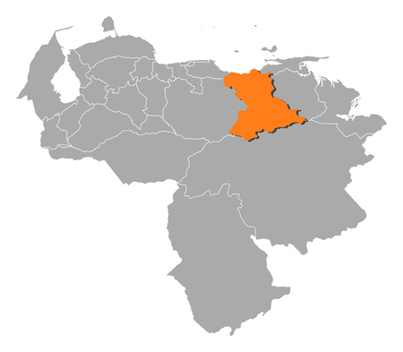 Map of Venezuela with the provinces, Anzoategui is highlighted by orange.