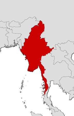southeastern asia: Map of Myanmar and nearby countries, Myanmar is highlighted in red. Illustration