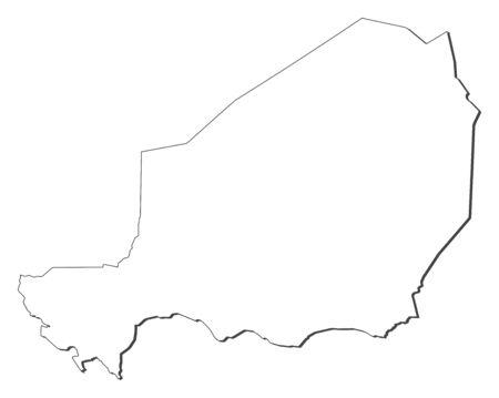 republique: Map of Niger, contous as a black line.