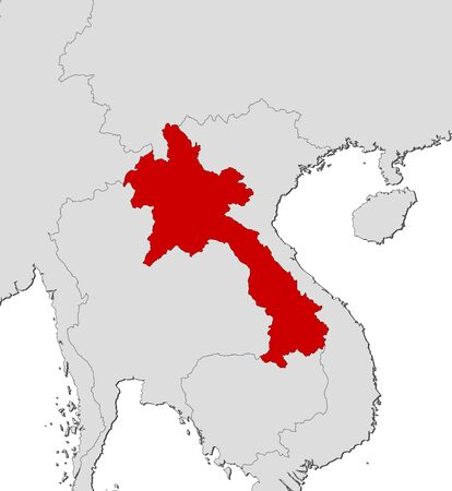 southeastern asia: Map of Laos and nearby countries, Laos is highlighted in red. Illustration