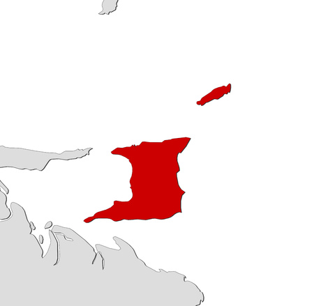 trinidad: Map of Trinidad and Tobago and nearby countries, Trinidad and Tobago is highlighted in red. Illustration