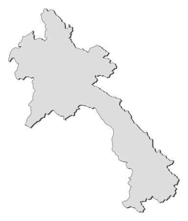 Map of Laos, filled in gray. Illustration