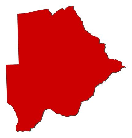botswana: Map of Botswana with the provinces, colored in red. Stock Photo
