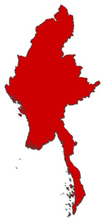 Map of Myanmar with the provinces, colored in red.