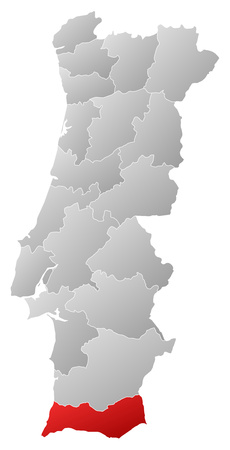 tone shading: Map of Portugal with the provinces, filled with a linear gradient, Faro is highlighted. Illustration