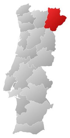tone shading: Map of Portugal with the provinces, filled with a linear gradient, Braganca is highlighted.