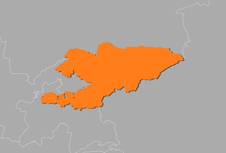 kyrgyzstan: Map of Kyrgyzstan and nearby countries, Kyrgyzstan is highlighted in orange.