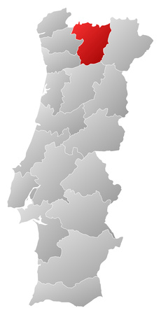 Map of Portugal with the provinces, filled with a linear gradient, Vila Real is highlighted. Illustration