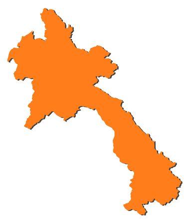 southeastern asia: Map of Laos, filled in orange.
