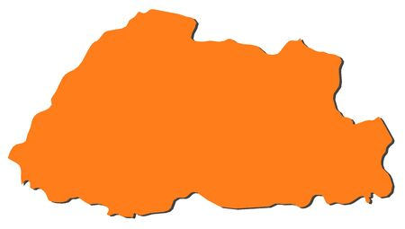 frontiers: Map of Bhutan, filled in orange.