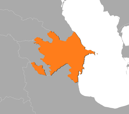 southwestern asia: Map of Azerbaijan and nearby countries, Azerbaijan is highlighted in orange.