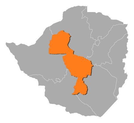 midlands: Map of Zimbabwe with the provinces, Midlands is highlighted by orange.
