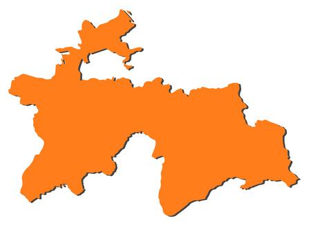 tajikistan: Map of Tajikistan, filled in orange. Illustration