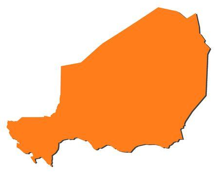 republique: Map of Niger, filled in orange. Illustration