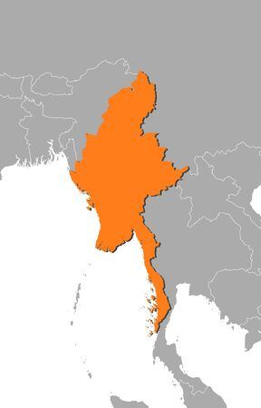 southeastern asia: Map of Myanmar and nearby countries, Myanmar is highlighted in orange.