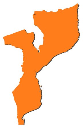 mozambique: Map of Mozambique, filled in orange.
