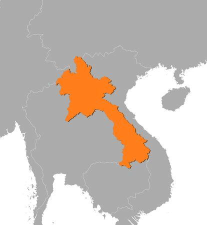 southeastern asia: Map of Laos and nearby countries, Laos is highlighted in orange. Illustration
