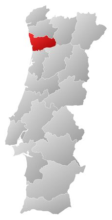 tone shading: Map of Portugal with the provinces, filled with a linear gradient, Porto is highlighted.