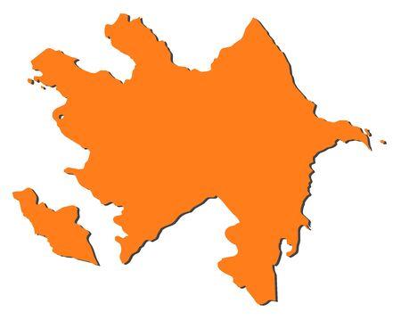 southwestern asia: Map of Azerbaijan, filled in orange.