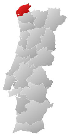 tone shading: Map of Portugal with the provinces, filled with a linear gradient, Viana do Castelo is highlighted.