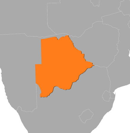 botswana: Map of Botswana and nearby countries, Botswana is highlighted in orange. Illustration